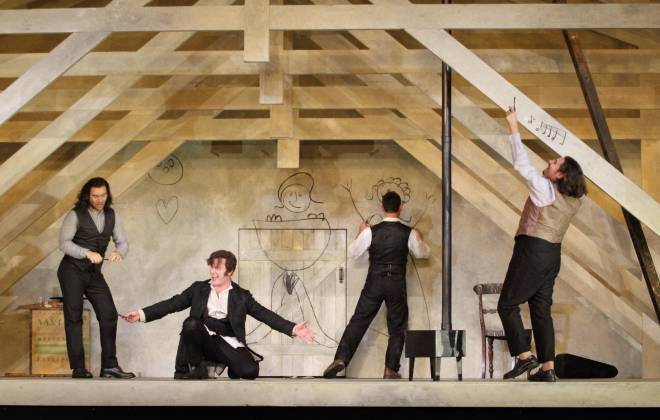 La Bohème par Richard Jones - Michael Fabiano, Luca Tittoto, Mariusz Kwiecień, Florian Sempey