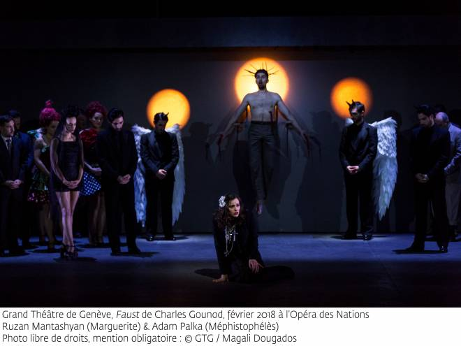 Ruzan Mantashyan (Marguerite) et Adam Palka (Méphistophélès) - Faust par Georges Lavaudant