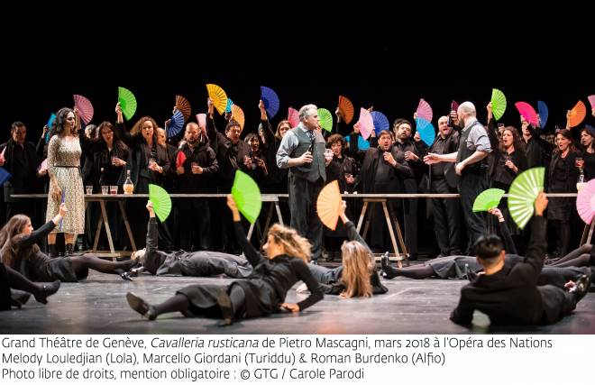 Melody Louledjian (Lola), Marcello Giordani (Turiddu) et Roman Burdenko (Alfio) - Cavalleria rusticana par Emma Dante