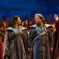 Elaine Alvarez, Marc Laho et Patrick Delcour dans Jérusalem de Verdi