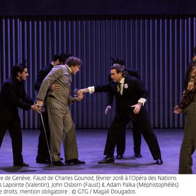 Jean-François Lapointe (Valentin), John Osborn (Faust) et Adam Palka (Méphistophélès) - Faust par Georges Lavaudant