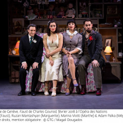 John Osborn (Faust), Ruzan Mantashyan (Marguerite), Marina Viotti (Marthe) et Adam Palka (Méphistophélès) - Faust par Georges Lavaudant