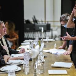 Sophie Koch, Wolfgang Ablinger-Sperrhacke et Krzysztof Warlikowski en répétition pour Salomé